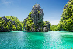 Emerald Lagoon (El Nido, Philippines). Big lagoon at Miniloc island (Bacuit Archipelago, El Nido, Philippines royalty free stock photos