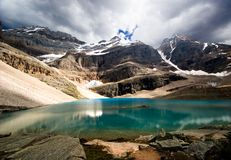 Emerald lake. A mountain lake highlighted by sun Royalty Free Stock Image