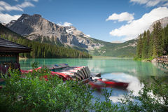 Emerald Lake boats, Yoho National Park Stock Photo