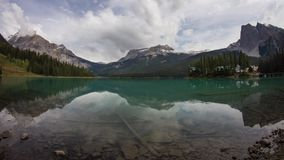 Emerald Lake on a cloudy morning stock video footage