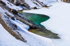 Emerald Lake colorido no parque nacional de Tongariro, Zealan novo Fotografia de Stock