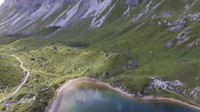 Emerald Lake between the Alps. Emerald Lake D`Olbe between the Alps stock footage