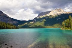 Emerald Lake at dusk. View on beautiful Emerald Lake at dusk Stock Photo