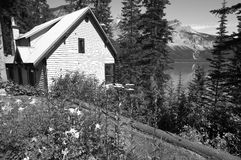 Emerald lake landscape with house. British Columbia. Canada Royalty Free Stock Photo