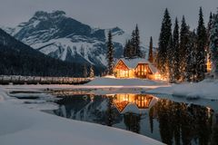 Emerald Lake Lodge is the only property on secluded Emerald Lake,surrounded by breathtaking Rocky Mountains,Yoho National Park stock image
