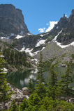 Emerald Lake met de Piek, Met platte kop Berg en Tyndall Glac van Hallett Royalty-vrije Stock Afbeeldingen