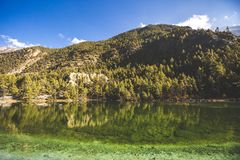 Emerald Lake Mricho Tal near Pisang. Himalaya mountains. Nepal, Annapurna circuit trek. Lake Mricho Tal with water of emerald color near Pisang. Himalaya royalty free stock photography