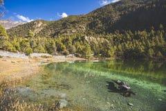 Emerald Lake Mricho Tal near Pisang. Himalaya mountains. Nepal, Annapurna circuit trek. Lake Mricho Tal with water of emerald color near Pisang. Himalaya royalty free stock image