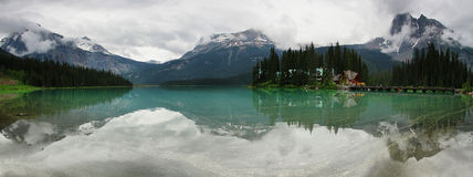 Emerald lake panorama Royalty Free Stock Image