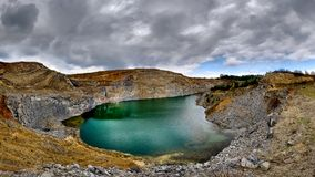 The emerald lake of Racos, Brasov county Romania landscape. Panoramic view stock photos