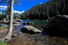 Emerald Lake in Rocky Mountain National Park. This is Emerald Lake in Rocky Mountain National Park. To get there, you must hike from the bottom of Bear Lake stock photography