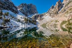 Emerald Lake, Rocky Mountains, Colorado, USA. Emerald Lake and reflection with rocks and mountains in snow around at autumn. Rocky Mountain National Park in Stock Photos