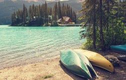 Emerald lake. Serenity Emerald Lake in the Yoho National Park, Canada. Instagram filter stock image