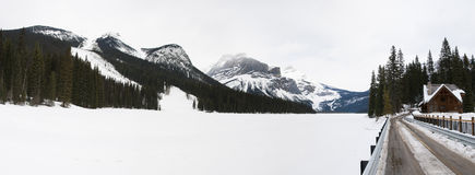 Emerald Lake in winter Stock Image