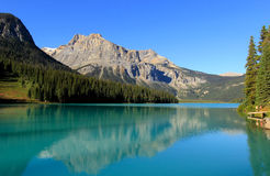 Emerald Lake, Yoho National Park, British Columbia, Canada. Mountains reflected in Emerald Lake, Yoho National Park, British Columbia, Canada Stock Images
