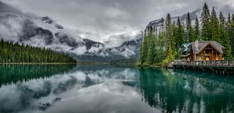 Emerald lake Yoho National Park British Columbia Canada. Showing the lodge hotel stock photography