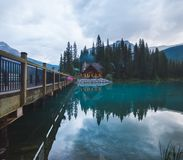 Emerald Lake in Yoho National Park near the footpath to the lodge. At sunset Royalty Free Stock Images
