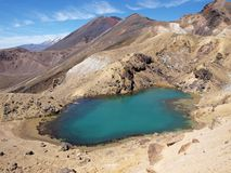 Emerald lakes and stratovolcano Ngauruhoe Royalty Free Stock Photo