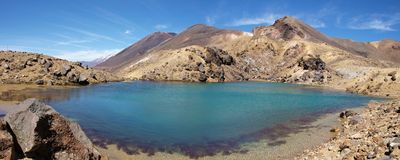 Panorama of Emerald lakes Stock Photography