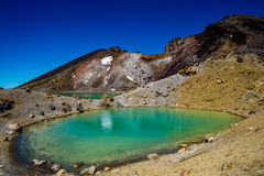 Emerald Lakes. Colorfull Emerald Lakes. Their brilliant colours are partly caused by dissolved minerals, washed down from the thermal area of nearby Red Crater Stock Images