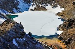 Emerald Lakes i den Tongariro nationalparken, Nya Zeeland Arkivfoton