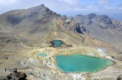 Emerald lakes, New Zealand. View at beautiful Emerald lakes on Tongariro trek, New Zealand royalty free stock image