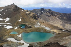 Emerald Lakes no cruzamento de Tongariro Imagem de Stock Royalty Free