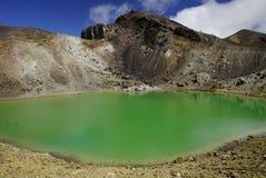Emerald lakes in NP Tongariro stock photo