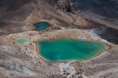 Emerald lakes. Tongariro crossing Stock Photos