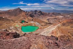 Emerald lakes on Tongariro Crossing track, one of the most beautiful trekking routes in New Zealand. Emerald lakes on Tongariro Crossing track, one of the most royalty free stock images