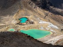 Emerald Lakes in Tongariro NP, New Zealand stock image