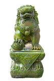 Emerald lion statues. On White Background stock photos