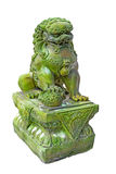 Emerald lion statues. On White Background stock photography
