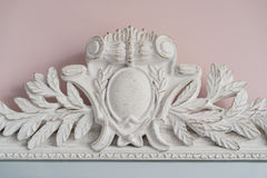 Emerald mirror are decorated with stucco decorative elements of the Renaissance, Baroque Royalty Free Stock Photography