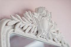 Emerald mirror are decorated with stucco decorative elements of the Renaissance, Baroque Royalty Free Stock Photos