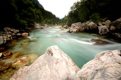 Emerald mountain river Soca, Slovenia Royalty Free Stock Images