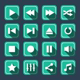 Emerald Multimedia Vector Icons With Long Shadow Royalty Free Stock Photos
