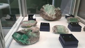 Emerald nugget at the exhibition stock video footage