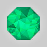 Emerald octagon shape. Abstract emerald octagon shape filled shades of green color and isolated on gray background Royalty Free Stock Photos