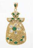 Emerald pendant with diamonds Stock Image