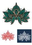 Emerald persian flower with paisley elements Royalty Free Stock Photos