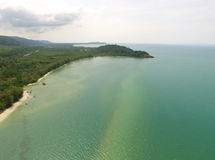 The emerald placid sea and Gulf of Thailand`s coast aerial bird`s eye view Royalty Free Stock Photos