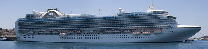Emerald Princess part of the Princess Cruises fleet docked in Kusadasi Turkey. KUSADASI TURKEY 22ND JULY 2015. Emerald Princess part of the Princess Cruises Royalty Free Stock Image