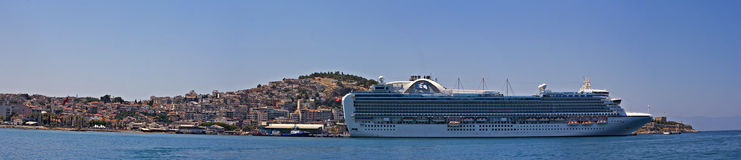 Emerald Princess part of the Princess Cruises fleet docked in Kusadasi Turkey. KUSADASI TURKEY 22ND JULY 2015. Emerald Princess part of the Princess Cruises Stock Photo