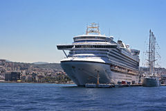 Emerald Princess part of the Princess Cruises fleet docked in Kusadasi Turkey. KUSADASI TURKEY 22ND JULY 2015. Emerald Princess part of the Princess Cruises Royalty Free Stock Photos