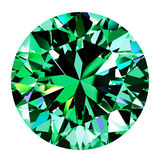Emerald Round Over White Background Stockbild