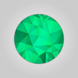 Emerald round shape. Abstract emerald round shape filled shades of green color and isolated on gray background Royalty Free Stock Photos