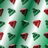 Vector seamless pattern with luxury emeralds and rubins. royalty free illustration