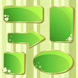 Emerald Saint Patricks day sale stickers and tags Stock Photos