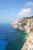 Emerald Sea. High cliffs and really blue/green sea, west coast of Zante (Zakynthos royalty free stock photography